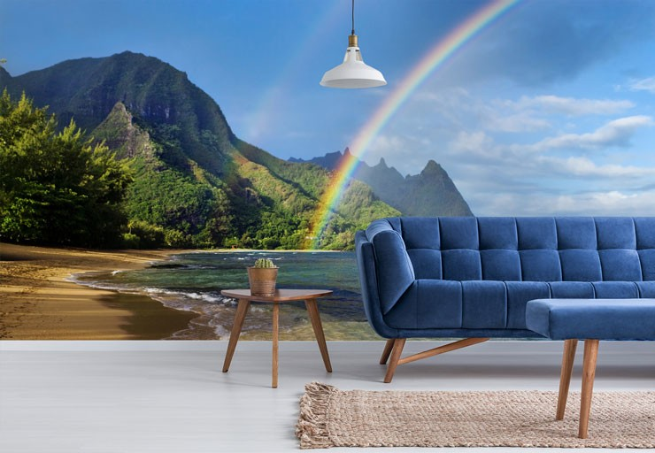 rainbow over tropical beach wall mural in trendy blue living room