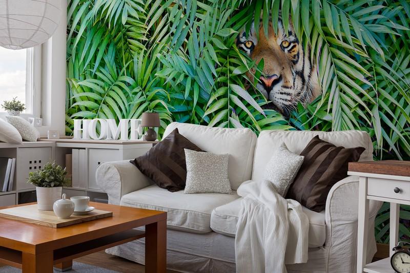 Palm Print Wallpaper Featuring Jungle Animals