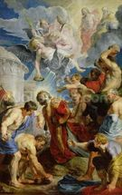 The Stoning of St. Stephen, from the Triptych of St. Stephen (oil on panel) mural wallpaper thumbnail
