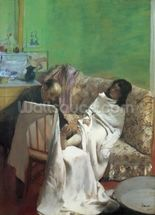 The Pedicure, 1873 (oil on paper laid on canvas) mural wallpaper thumbnail