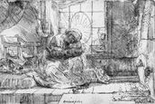 The Holy Family with a cat, 1654 (etching) (b/w photo) wall mural thumbnail