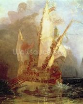 Ulysses Deriding Polyphemus, detail of ship, 1829 (oil on canvas) (detail of 889) wallpaper mural thumbnail
