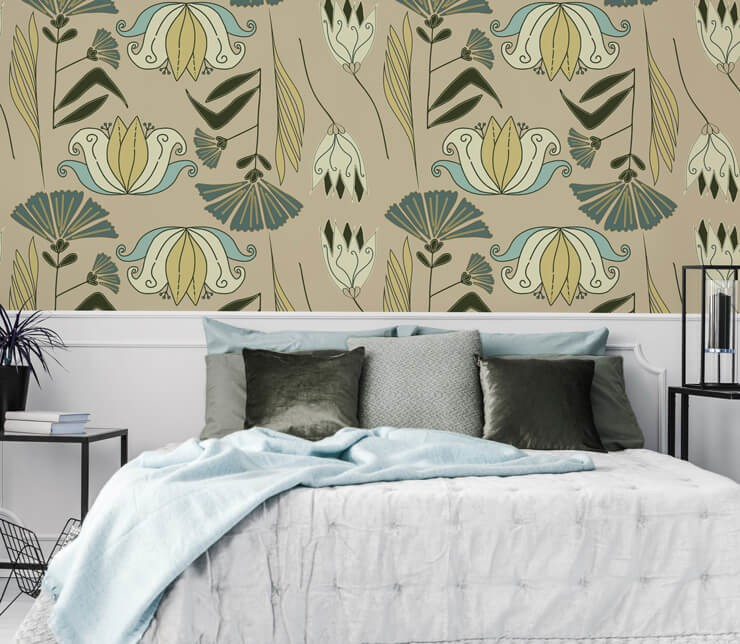 floral illustration with natural and blue shades in bedroom with bed in similar tones