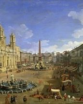 View of the Piazza Navona, Rome (oil on canvas) wall mural thumbnail