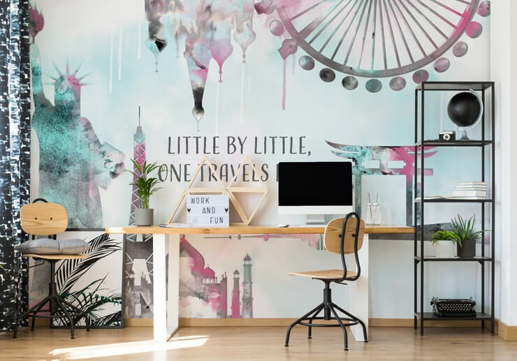 pink and light blue watercolour of famous landmarks with quotes wall mural in home office