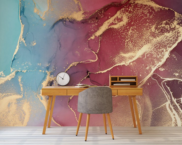 gold pink and blue marble wallpaper in students office area