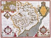 The Countye of Monmouth, engraved by Jodocus Hondius (1563-1612) from John Speeds Theatre of the Empire of Great Britain, pub. by John Sudbury and George Humble, 1611-12 (hand coloured copper engraving) mural wallpaper thumbnail