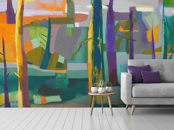 abstract living room mural by Danielle Nelisse