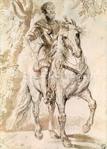 Study for an equestrian portrait of the Duke of Lerma (1553-1625) 1603 (pen & ink on paper) wallpaper mural thumbnail
