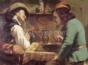 The Game of Draughts, 1844 (oil on canvas) wallpaper mural thumbnail