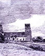 Feering Church, 1814 (drawing) 99;landscape; building; sky; cloud; tree; countryside; mural wallpaper thumbnail