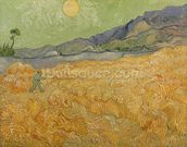 Wheatfield with Reaper, 1889 (oil on canvas) wallpaper mural thumbnail