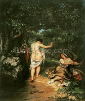 Les Baigneuses, 1853 (oil on canvas) wallpaper mural thumbnail