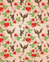 Birds and Roses mural wallpaper thumbnail