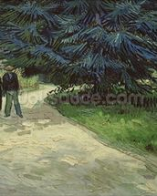Couple in the Park, Arles, 1888 (oil on canvas) wallpaper mural thumbnail