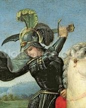 St. George Struggling with the Dragon, c.1503-05 (oil on panel) (detail of 15971) wallpaper mural thumbnail