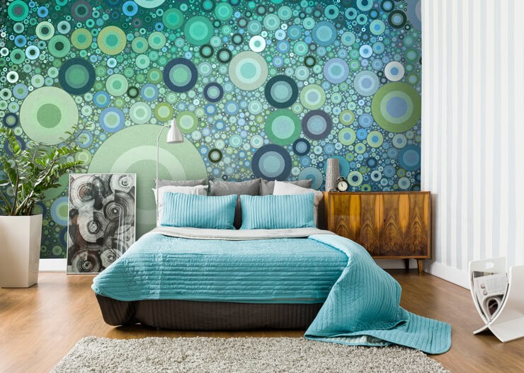 circle_pattern_wallpaper_in_bedroom