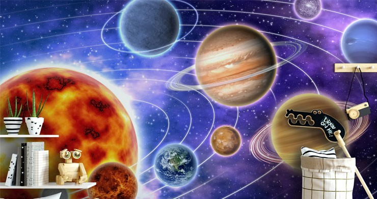 planets in solar system in modern boys bedroom