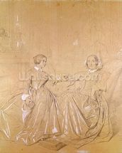 Countess Charles dAgoult (1805-76) and her daughter Claire dAgoult, May 1849 (pencil with white chalk on paper) wall mural thumbnail