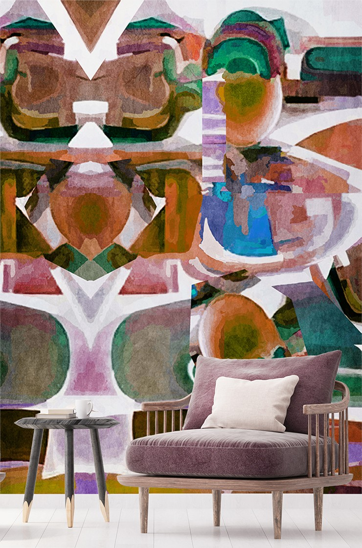 abstract painted art with shapes in orange, brown, blue, green and purple shades in lounge with retro purple armchair