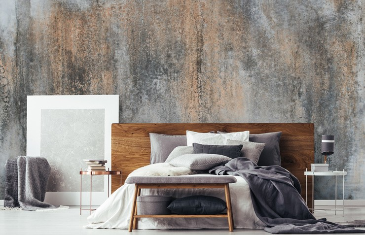 concrete-wallpaper-effect-on-bedroom-wall