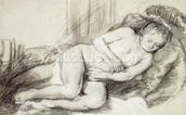 Reclining Female Nude (black chalk and bodycolour on paper) wall mural thumbnail