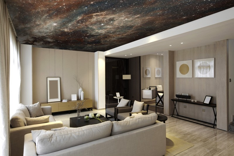 Space-wallpaper-on-living-room-ceiling