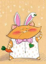 Cat Bunny mural wallpaper thumbnail