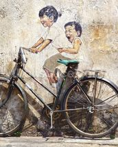 Little Children on a Bicycle mural wallpaper thumbnail
