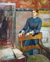 Helene Rouart in her Fathers Study, c.1886 (oil on canvas) wall mural thumbnail