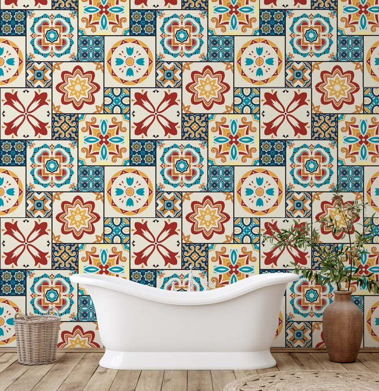 vintage patterned tile wallpaper in orange colours in bathroom with free-standing bathtub