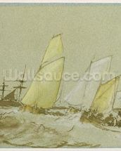 Shipping, c.1828-30 (pen, brush & brown ink, bodycolour and graphite on blue paper) wall mural thumbnail
