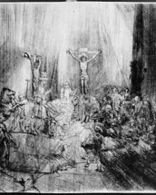 The Three Crosses, 1653 (etching) mural wallpaper thumbnail