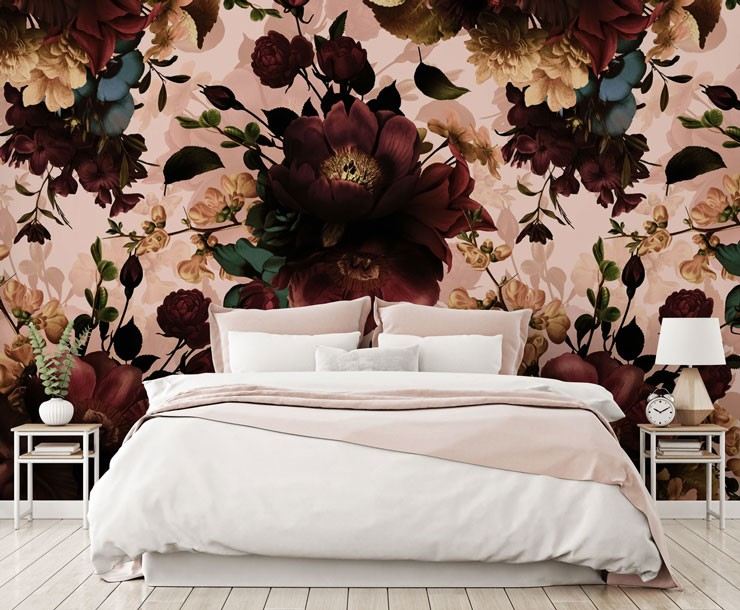 dusty pink and maroon floral wallpaper in bedroom