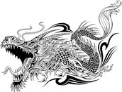 Tattoo - Dragon Sketch wall mural thumbnail