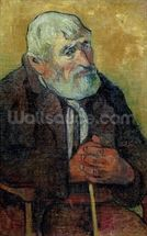 Portrait of an Old Man with a Stick, 1889-90 (oil on canvas) wallpaper mural thumbnail
