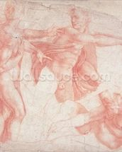 Studies of Male Nudes (red chalk on paper) mural wallpaper thumbnail