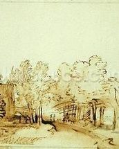 Avenue with a footpath and a farmhouse on the left (pen and brown ink and brush on paper) mural wallpaper thumbnail