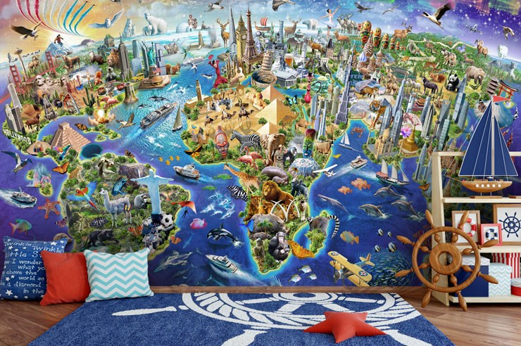 illustrated world map and buildings wallpaper in boys bedroom