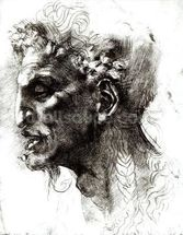 Head of a Satyr (pen & ink on paper) (b/w photo) wall mural thumbnail