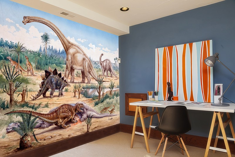 Pleasing 50 dinosaur wall mural design decoration of for Dinosaur mural ideas