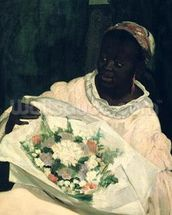 Olympia, detail of the black servant, 1863 (oil on canvas) mural wallpaper thumbnail