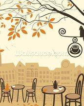 Street Cafe wallpaper mural thumbnail
