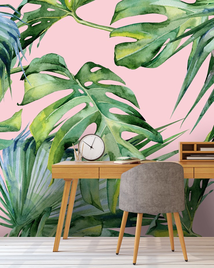 pink-jungle-mural-in-home-office