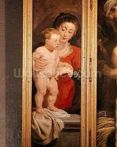 Triptych of Christ in the Straw, left hand panel depicting the Virgin and Child, c.1618 (oil on panel) wall mural thumbnail