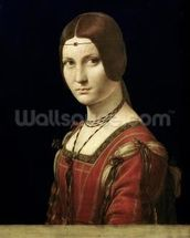 Portrait of a Lady from the Court of Milan, c.1490-95 (oil on panel) mural wallpaper thumbnail