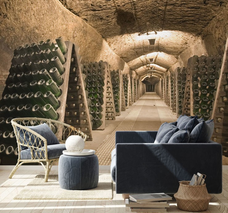 vintage wine cellar in lounge