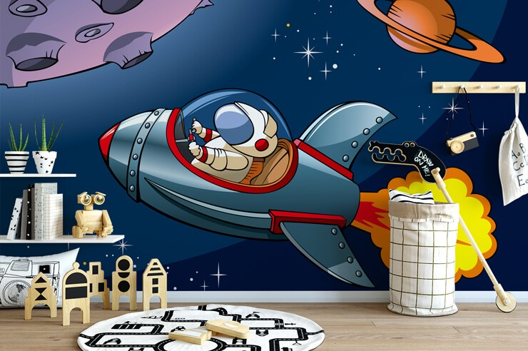 cartoon of astronaut in rocket wallpaper in modern child's playroom