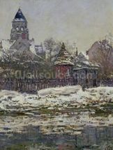 The Church at Vetheuil, 1879 (oil on canvas) wallpaper mural thumbnail