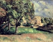 Trees in a Park, Jas de Bouffan, 1885-87 (oil on canvas) wallpaper mural thumbnail